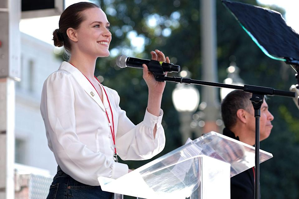 LOS ANGELES, CALIFORNIA - JANUARY 19: Actress Evan Rachel Wood speaks at the Womens March California 2019 on January 19, 2019 in Los Angeles, California. Demonstrations are slated to take place in cities across the country in the third annual event aimed to highlight social change and celebrate wome