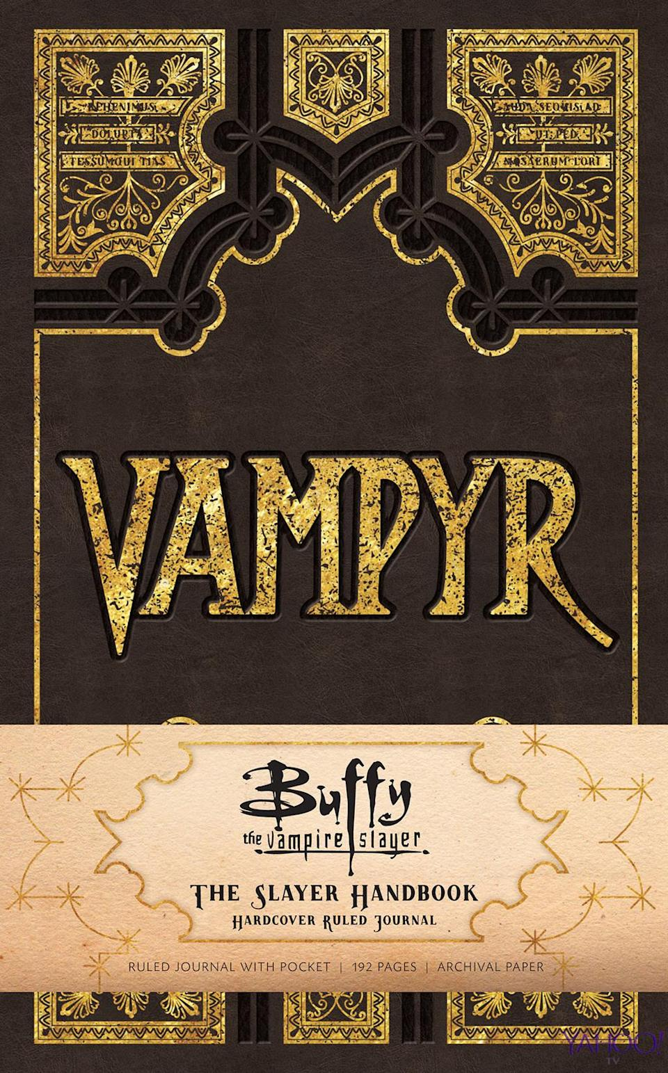 """<p>Also available in August from Insight Editions, this journal, which """"includes a section of text adapted from the original <em>Slayer Handbook</em> before giving way to blank ruled pages."""" So maybe it's time to write fan fiction again? Price: $18.95. Other Insight Editions offerings will include the <em>Buffy the Vampire Slayer Vampyr Stationery Set</em> (August, $24.99) — complete with Hellmouth sticker seals — as well <em>Buffy the Vampire Slayer: The Official Grimoire</em> (October, $35), """"the first and only truly comprehensive collection of every magical moment from all seven seasons,"""" and <em>Buffy the Vampire Slayer: The Definitive Visual Handbook</em> (October, $14.99), a """"one-of-a-kind infographic guide to all things <em>Buffy</em>, blending striking illustrations with a bounty of facts and stats…"""" (Credit: Insight Editions) </p>"""
