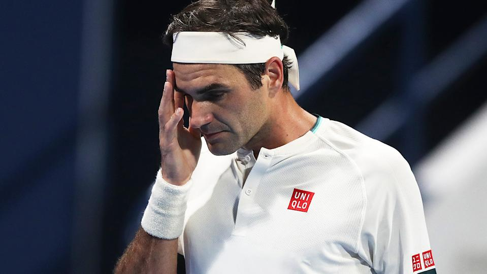 Roger Federer (pictured) looking frustrated during a match in Doha.