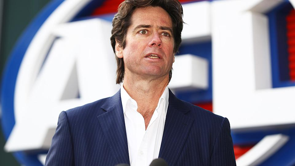 AFL CEO Gillon McLachlan is pictured speaking to the media.