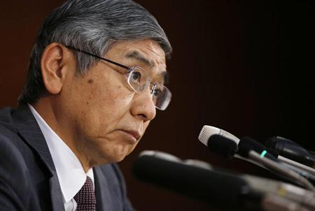 Bank of Japan Governor Haruhiko Kuroda listens to a reporter's question during a news conference in Tokyo