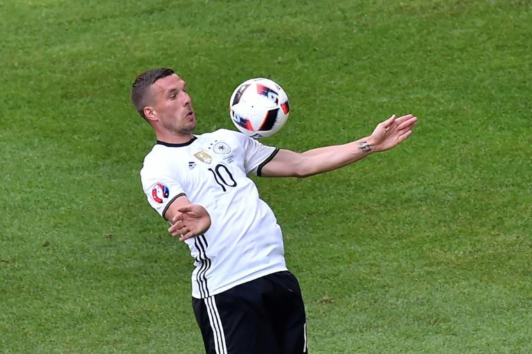 Germany's forward Lukas Podolski controls the ball during a Euro 2016 match between against Slovakia at the Pierre-Mauroy stadium in Villeneuve-d'Ascq, near Lille, on June 26, 2016