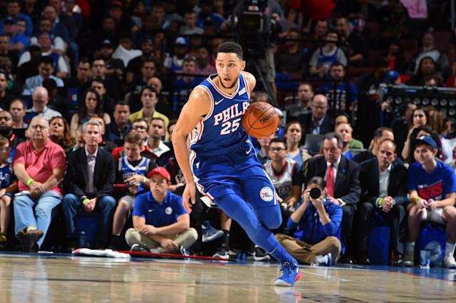 "<a class=""link rapid-noclick-resp"" href=""/nba/players/5600/"" data-ylk=""slk:Ben Simmons"">Ben Simmons</a> got his Nike jersey nearly torn off his body while the <a class=""link rapid-noclick-resp"" href=""/nba/teams/phi/"" data-ylk=""slk:Philadelphia 76ers"">Philadelphia 76ers</a> hosted the <a class=""link rapid-noclick-resp"" href=""/nba/teams/ind/"" data-ylk=""slk:Indiana Pacers"">Indiana Pacers</a>. (Getty)"