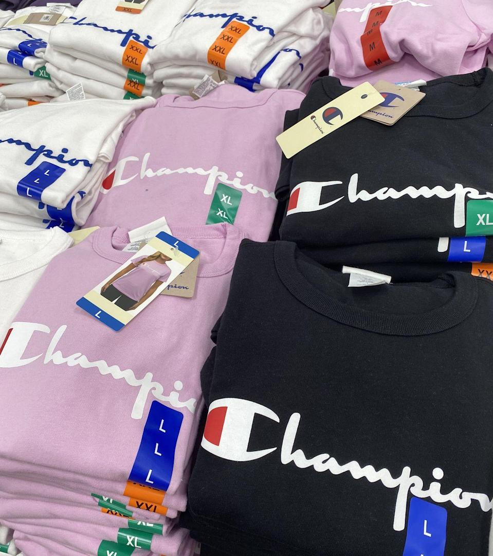 <p>Walking down the aisles, you'll find signature pieces from respected brands like Calvin Klein, Champion, and FILA. At Costco, you won't pay an absurd amount of money — a Champion T-shirt is only $13.99.</p>