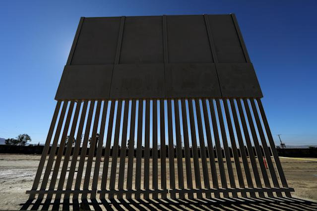 <p>One of President Donald Trump's eight border wall prototypes is pictured along U.S.- Mexico border near San Diego, Calif., Oct. 23, 2017. (Photo: Mike Blake/Reuters) </p>
