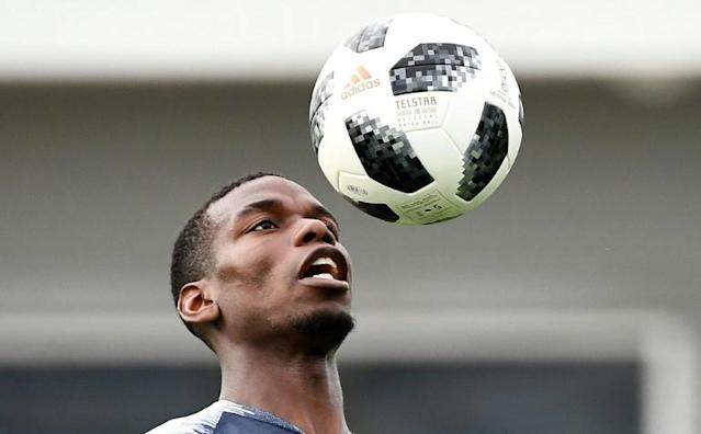 France midfielder Paul Pogba takes part in a World Cup training session in Russia