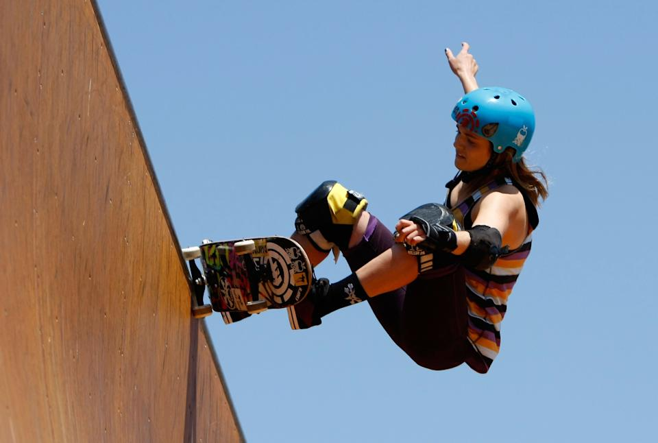 CARSON, CA - JULY 30:  Karen Jonz competes in the Women's Skateboard Vert Final during X Games 15 at the Home Depot Center on July 30, 2009 in Carson, California.  (Photo by Jeff Gross/Getty Images)