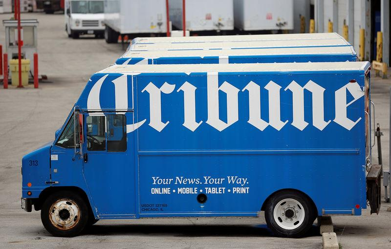 A Chicago Tribune delivery truck is seen in Chicago