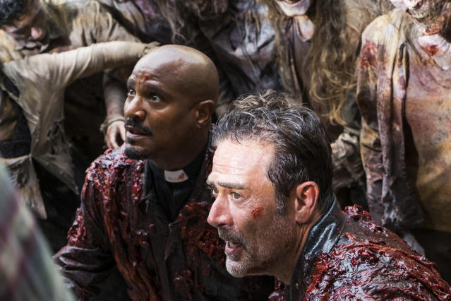 <p>Seth Gilliam as Father Gabriel Stokes and Jeffrey Dean Morgan as Negan in AMC's <i>The Walking Dead.><br> (Photo: Gene Page/AMC)</i> </p>