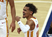 Atlanta Hawks' Trae Young (11) reacts to a call during the third quarter in Game 2 in an NBA basketball first-round playoff series against the New York Knicks on Wednesday, May 26, 2021, in New York. (Elsa/Pool Photo via AP)