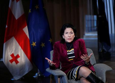 Georgia's president-elect Salome Zurabishvili speaks during an interview with Reuters in Tbilisi, Georgia, December 1, 2018. REUTERS/David Mdzinarishvili