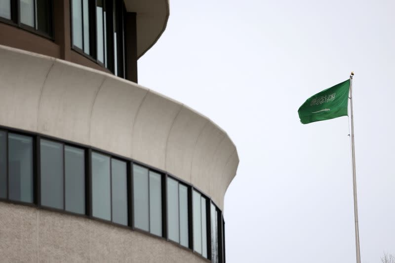 The flag of Saudi Arabia flies above the Saudi Arabia embassy near the Watergate Complex in Washington