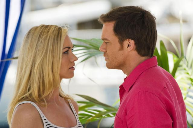 "Yvonne Strahovski as Hannah McKay and Michael C. Hall as Dexter Morgan in the ""Dexter"" Season 8 episode, ""Are We There Yet?"""