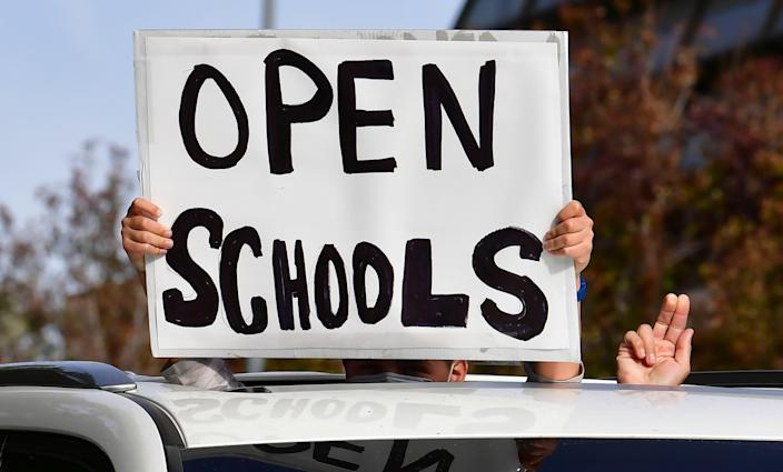 Rally to open schools on Feb. 15, 2021, in Los Angeles.