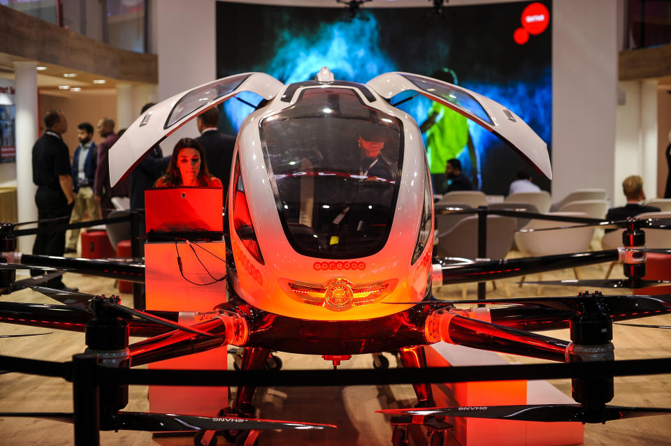 Ooredoo taxi drone from Ehang Company, exhibited a convertible taxi drone during the Mobile World Congress, on February 26, 2019 in Barcelona, Spain.   (Photo by Joan Cros/NurPhoto via Getty Images)
