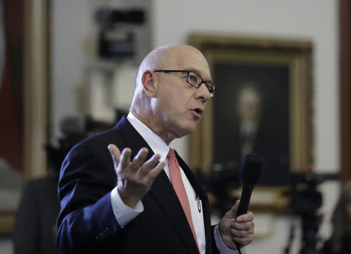 FILE - In this Feb. 7, 2017, file photo, state Sen. John Whitmire, D-Houston, speaks at the Texas Capitol in Austin, Texas. Texas prison officials say the last written words of condemned inmates will no longer be shared publicly in another change to execution-day procedures in the nation's busiest death chamber. Whitmire had chastised prison officials for reading an avowed racist's final written statement after he was executed last week for the 1998 dragging death of James Byrd Jr., a black man. (AP Photo/Eric Gay, File)