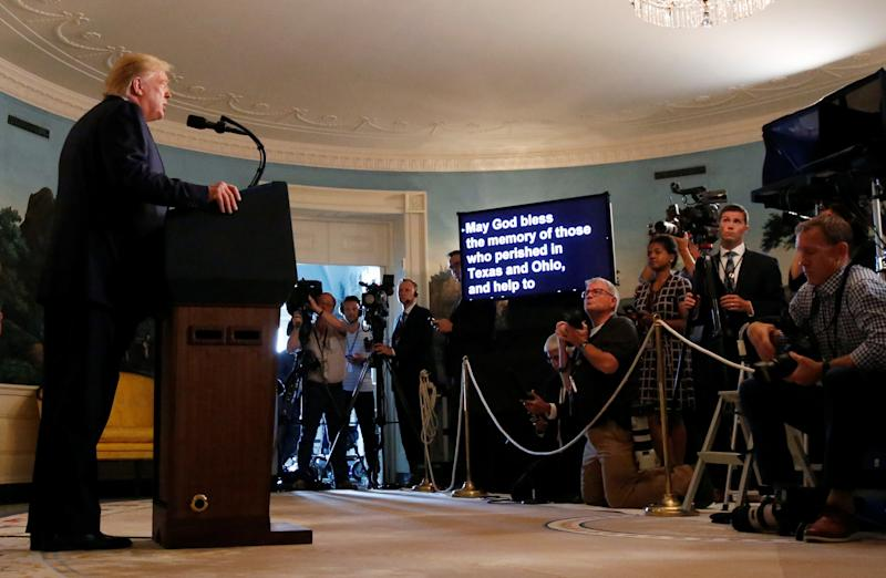 President Trump makes a statement to the news media about the recent mass shootings in El Paso, Texas, and Dayton, Ohio, that happened over the weekend from the White House in Washington, D.C., on Monday. (Leah Millis/Reuters)