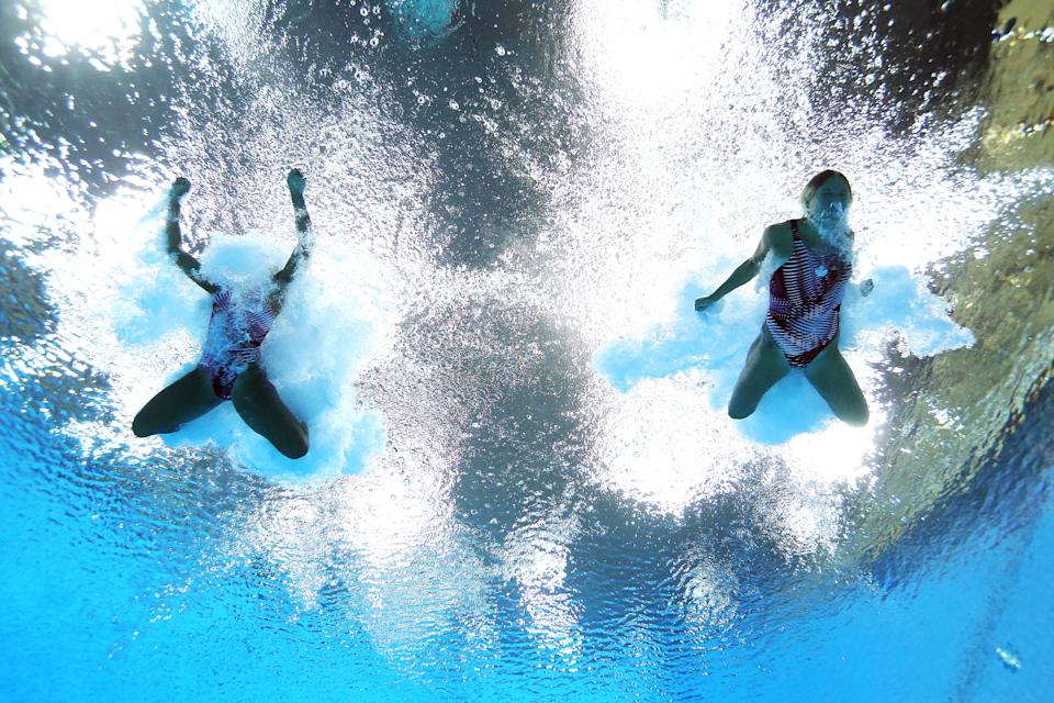 LONDON, ENGLAND - JULY 29: Jennifer Abel and Emilie Heymans of Canada compete in the Women's Synchronised 3m Springboard final on Day 2 of the London 2012 Olympic Games at the Aquatics Centre at Aquatics Centre on July 29, 2012 in London, England. (Photo by Al Bello/Getty Images)