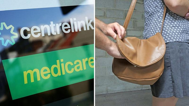 A sign with Centrelink and Medicare logos on the left, and a hand reaching into woman's handbag on the right.