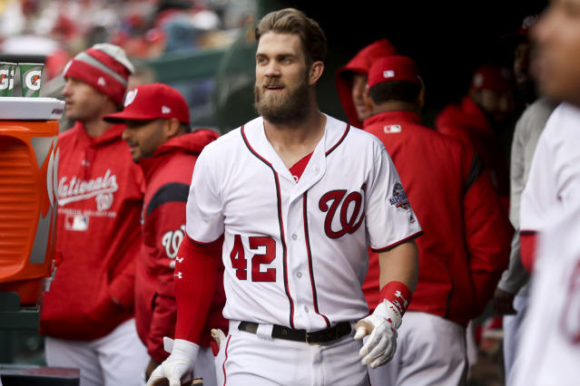 "<a class=""link rapid-noclick-resp"" href=""/mlb/players/8875/"" data-ylk=""slk:Bryce Harper"">Bryce Harper</a> has been receiving some ribbing from teammates after comparing them to a Triple-A team. (AP Photo)"