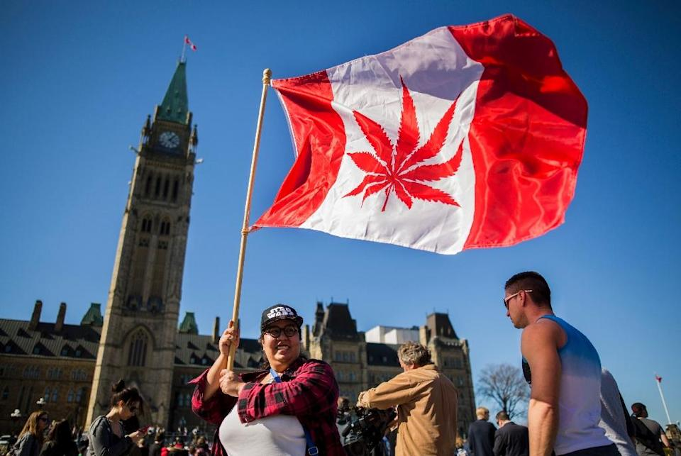 A woman waves a flag with a marijuana leaf in place of the Canadian maple leaf (AFP Photo/Chris Roussakis )