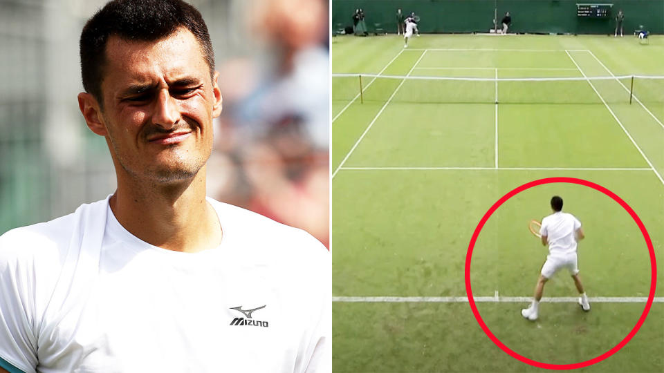 Bernard Tomic, pictured here crashing out of Wimbledon qualifying in the second round.
