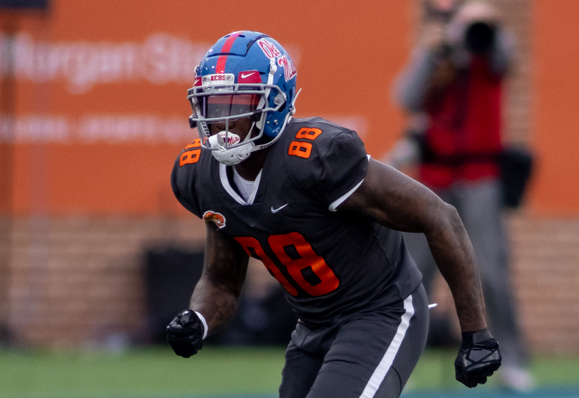 Jan 30, 2021; Mobile, AL, USA; National tight end Kenny Yeboah of Mississippi (88) runs a route in the second half of the 2021 Senior Bowl at Hancock Whitney Stadium. Mandatory Credit: Vasha Hunt-USA TODAY Sports