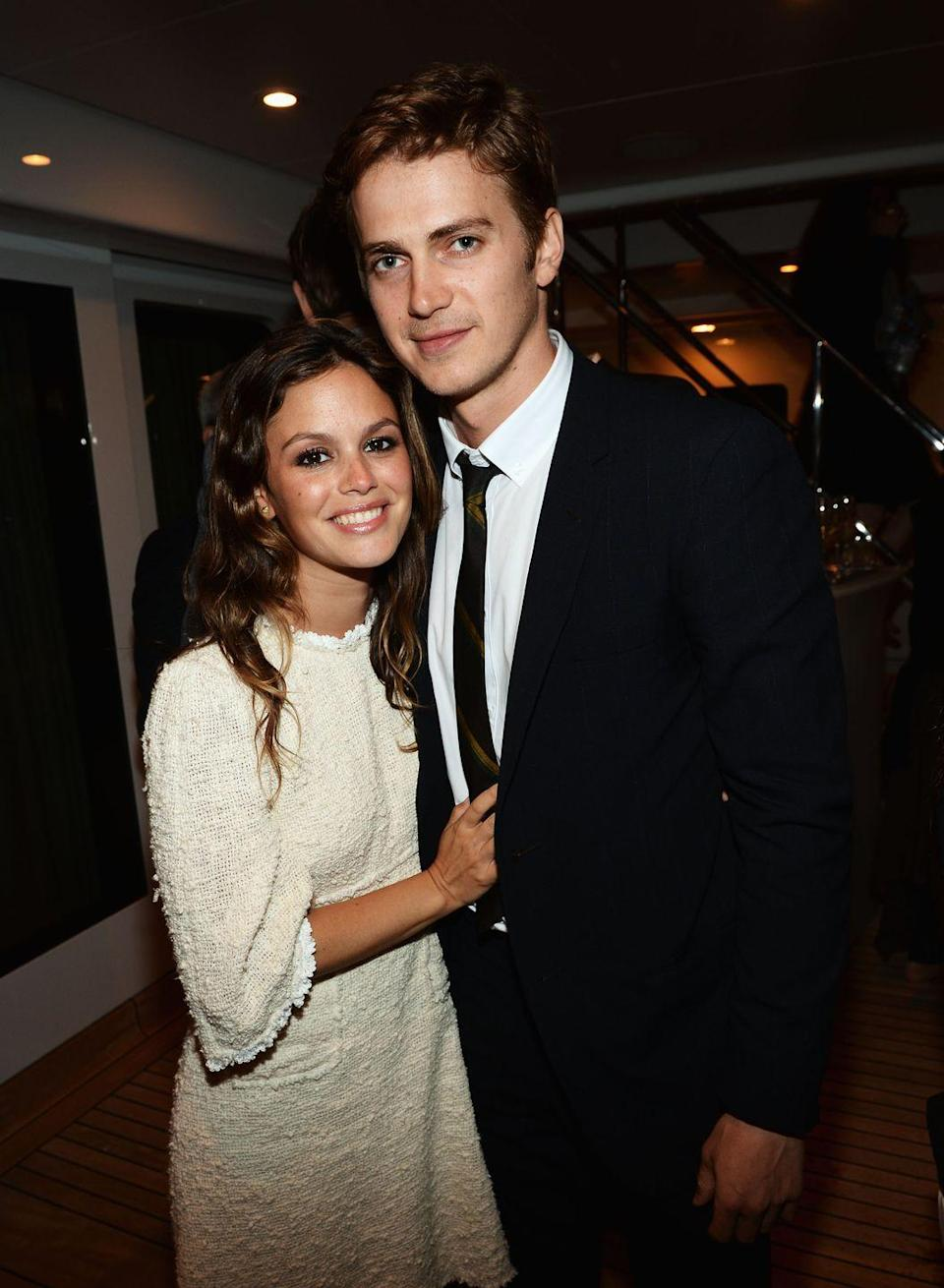 """<p>The O.C. star Rachel Bilson met Star Wars actor Hayden Christensen <a href=""""https://www.bustle.com/articles/30468-how-did-rachel-bilson-hayden-christensen-meet-it-was-love-at-first-time-travel"""" rel=""""nofollow noopener"""" target=""""_blank"""" data-ylk=""""slk:on the set of their 2007 flick Jumper"""" class=""""link rapid-noclick-resp"""">on the set of their 2007 flick Jumper</a>. After a year of dating, the couple got engaged. The couple continued to have <a href=""""https://www.womenshealthmag.com/relationships/g30404930/on-again-off-again-celebrity-relationships/?slide=10"""" rel=""""nofollow noopener"""" target=""""_blank"""" data-ylk=""""slk:an on-again, off-again relationship"""" class=""""link rapid-noclick-resp"""">an on-again, off-again relationship</a> until formally ending it in 2017.</p>"""