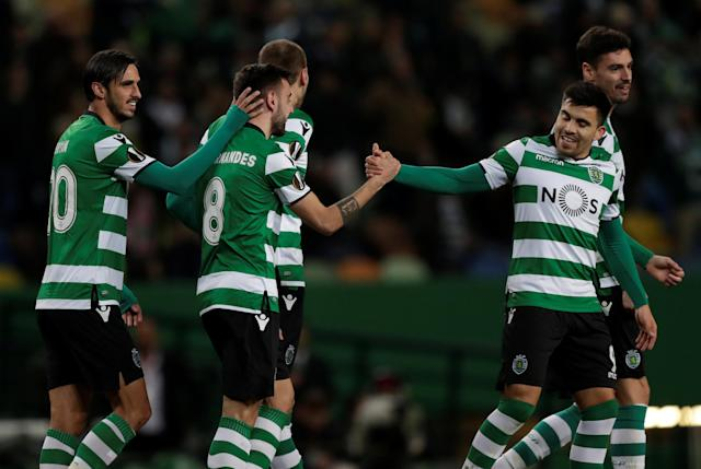 Soccer Football - Europa League Round of 32 Second Leg - Sporting CP vs Astana - Estadio Jose Alvalade, Lisbon, Portugal - February 22, 2018 Sporting's Bruno Fernandes celebrates scoring their second goal with team mates REUTERS/Rafael Marchante