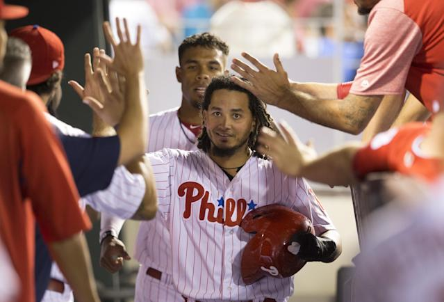 """<a class=""""link rapid-noclick-resp"""" href=""""/mlb/players/9132/"""" data-ylk=""""slk:Freddy Galvis"""">Freddy Galvis</a> will join the Padres. (Photo by Mitchell Leff/Getty Images)"""
