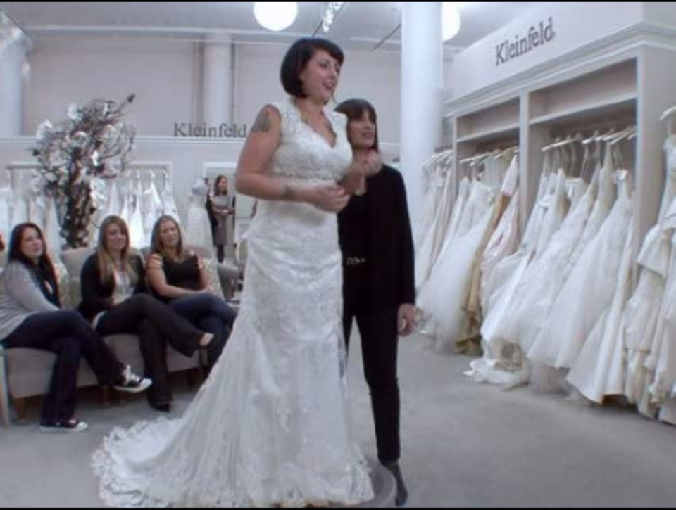 """<p>Because Kleinfeld Bridal is a public business, there are often customers in the background who didn't know filming would be happening during their appointment. All customers who enter the store on filming days <a href=""""https://www.buzzfeed.com/terripous/21-things-you-never-knew-about-say-yes-to-the-dress"""" rel=""""nofollow noopener"""" target=""""_blank"""" data-ylk=""""slk:need to sign a crowd-notice release"""" class=""""link rapid-noclick-resp"""">need to sign a crowd-notice release</a>.</p>"""