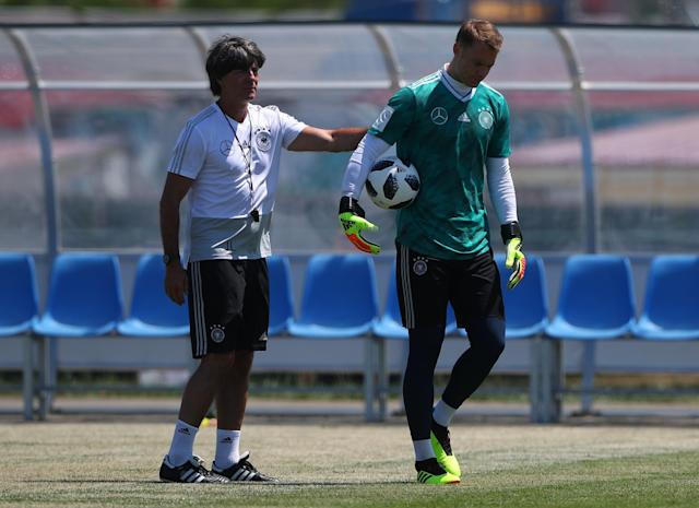 Soccer Football - World Cup - Germany Training - Sochi, Russia - June 21, 2018 Germany's coach Joachim Low and goalkeeper Manuel Neuer during training. REUTERS/Hannah McKay