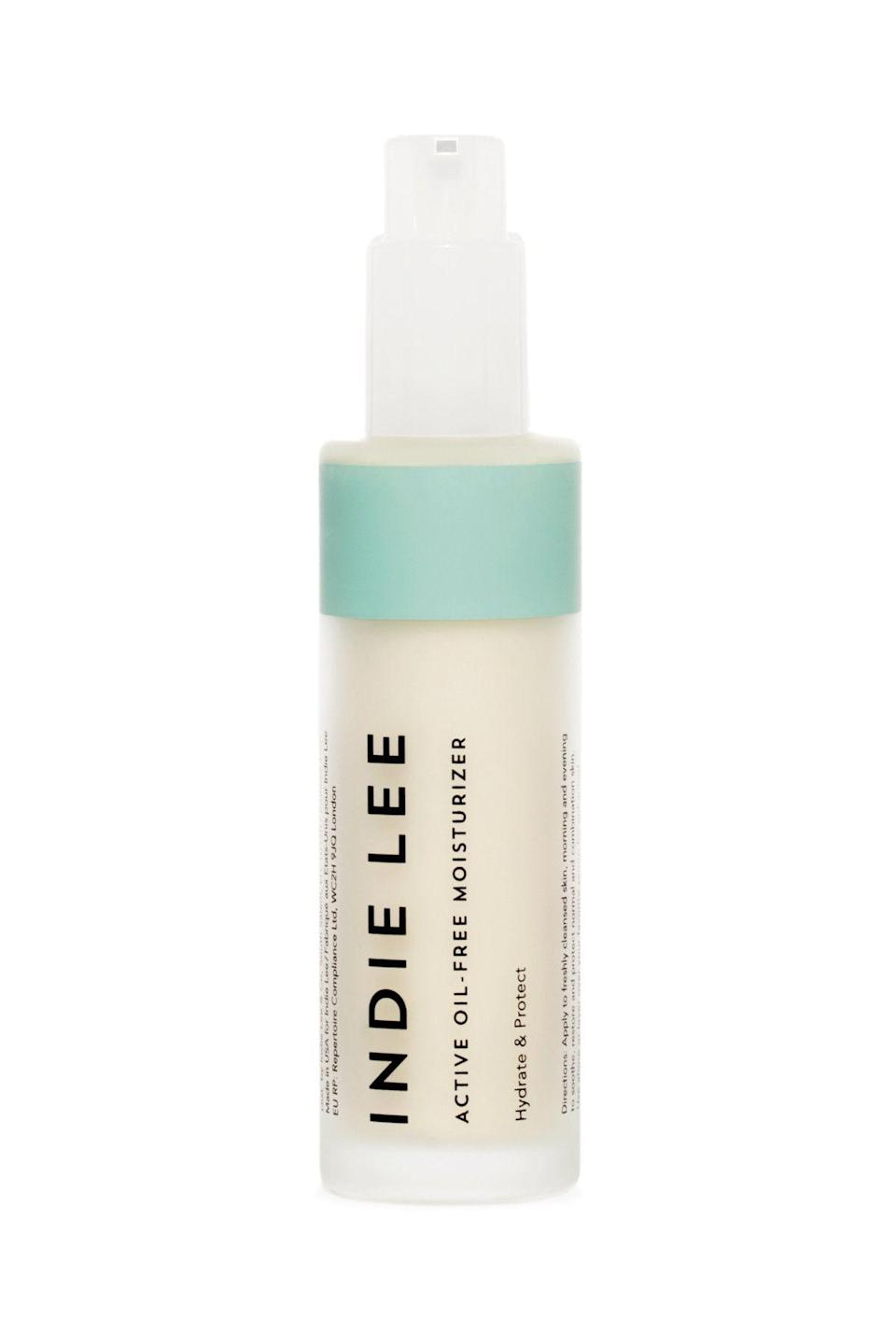 """<p><strong>Indie Lee</strong></p><p>dermstore.com</p><p><strong>$48.00</strong></p><p><a href=""""https://go.redirectingat.com?id=74968X1596630&url=https%3A%2F%2Fwww.dermstore.com%2Fproduct_Active%2BOil%2BFree%2BMoisturizer%2B_79028.htm&sref=https%3A%2F%2Fwww.marieclaire.com%2Fbeauty%2Fg34399769%2Fbest-oil-free-moisturizers%2F"""" rel=""""nofollow noopener"""" target=""""_blank"""" data-ylk=""""slk:SHOP IT"""" class=""""link rapid-noclick-resp"""">SHOP IT</a></p><p>Just a pump or two of this supremely light option will both hydrate and protect against environmental damages thanks to daisy flower and imortelle extracts that combat free radical degradation.</p>"""