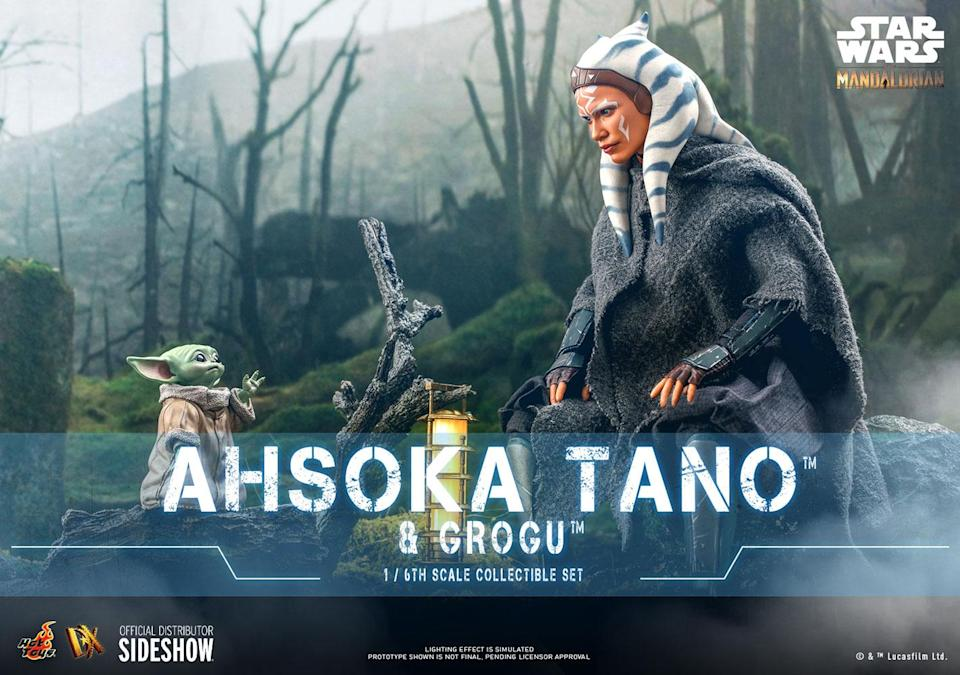 The scene where Ahsoka communes with Baby Grogu is recreated in action figure form.