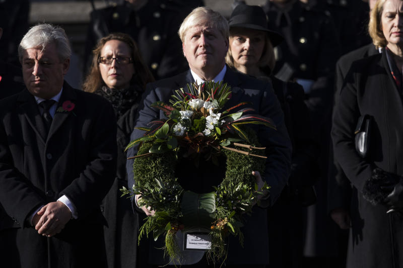 LONDON, ENGLAND - NOVEMBER 13: Foreign Secretary Boris Johnson (C) attends the annual Remembrance Sunday Service at the Cenotaph on Whitehall on November 13, 2016 in London, England. The Queen, senior politicians, including the British Prime Minister and representatives from the armed forces pay tribute to those who have suffered or died at war. (Photo by Jack Taylor/Getty Images)