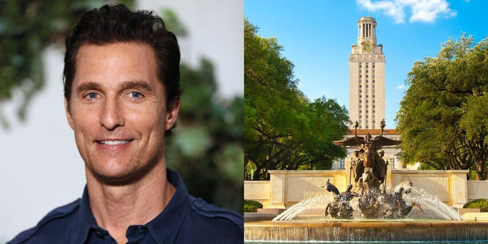 """<p><strong> University of Texas at Austin</strong></p><p><span class=""""redactor-invisible-space"""">McConaughey graduated from UT Austin with a Bachelor's degree in radio-television-film. <span class=""""redactor-invisible-space"""">He</span></span><span class=""""redactor-invisible-space""""> still regularly visits campus to attend the Longhorn's football games. </span><span class=""""redactor-invisible-space""""><span class=""""redactor-invisible-space"""">This summer, the <a href=""""http://www.latimes.com/entertainment/gossip/la-et-mg-matthew-mcconaughey-college-professor-20160701-snap-htmlstory.html"""" rel=""""nofollow noopener"""" target=""""_blank"""" data-ylk=""""slk:University of Texas at Austin announced"""" class=""""link rapid-noclick-resp"""">University of Texas at Austin announced</a> that McConaughey will be returning to his alma mater to assist in teaching a filmmaking class.</span></span><br></p>"""