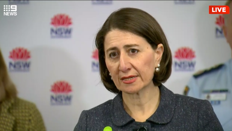 Gladys Berejiklian has urged people in NSW not to travel to communities on the border with Victoria. Source: Nine News/Facebook