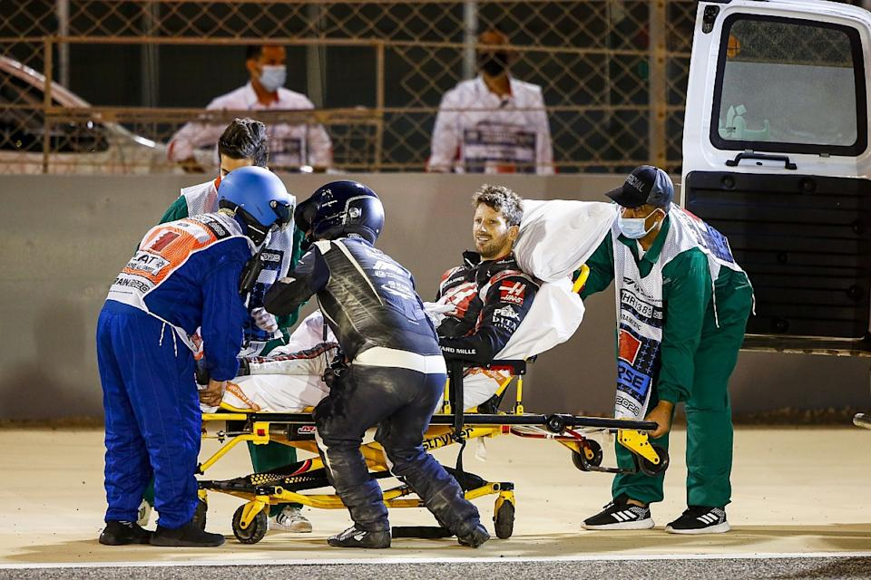 Grosjean to remain in hospital overnight after crash