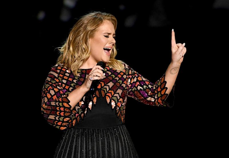 Adele performs at the 2017 Grammy Awards: Getty