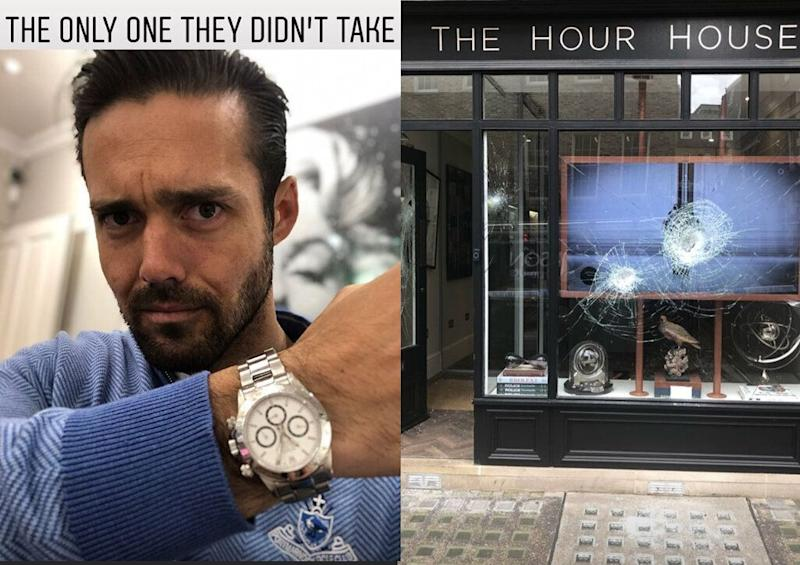 Spencer Matthews was lucky to leave with his luxury watch after thieves ransacked The Hour House in London. (Credit: Instagram/Spencer Matthews)