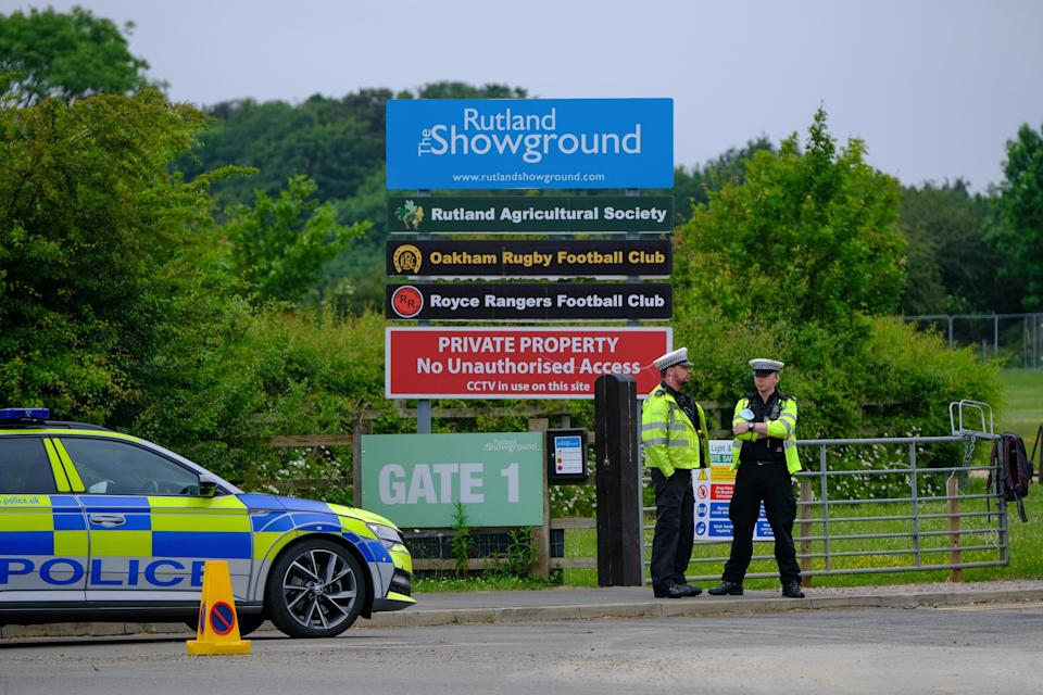 Police manned the gates at Rutland showground to ensure no festival-goers returned to the site (swns)