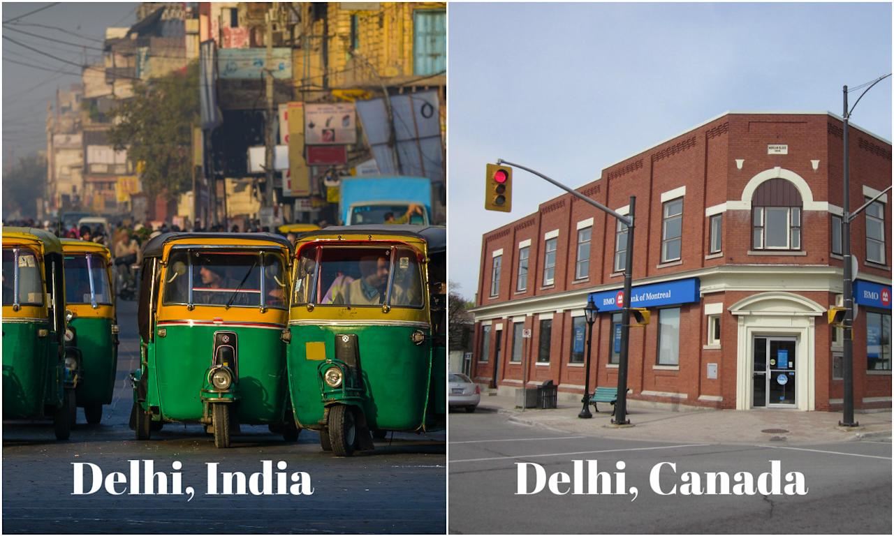 """<p>Delhi, the capital of India, is a massive metropolitan area and the second most populated city in the country. It is situated on the banks of the Yamuna river. The city is a beautiful blend of a historical past and a vibrant present. There is another Delhi situated in Canada's Ontario; it is also known as the """"Heart of the Tobacco Country.""""<br />Image credits – Doug Kerr, Flickr and Getty </p>"""