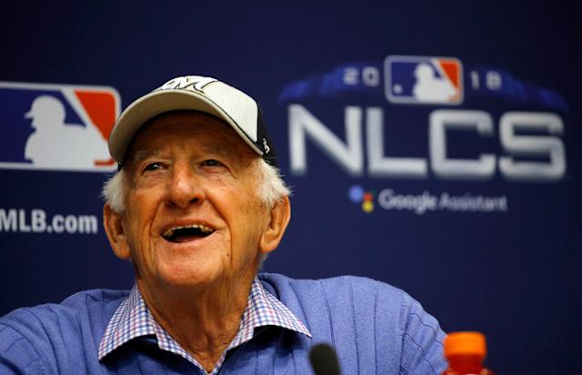"<a class=""link rapid-noclick-resp"" href=""/mlb/teams/milwaukee/"" data-ylk=""slk:Milwaukee Brewers"">Milwaukee Brewers</a> sportscaster Bob Uecker has been broadcasting games since 1971. (AP Photo/Charlie Riedel)"