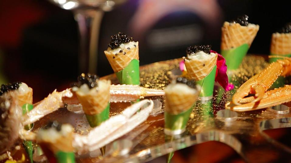 An 18-course dinner which starts with New Zealand langoustine with black sesame cornet.