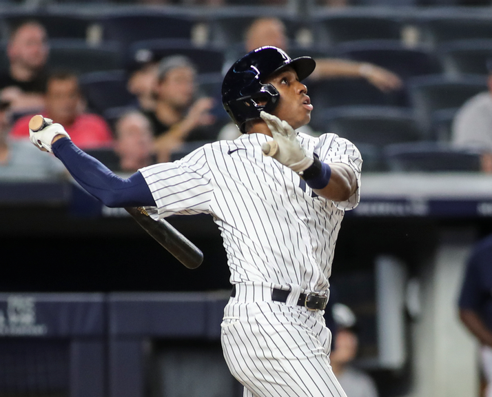 Greg Allen swinging with Yankees home game