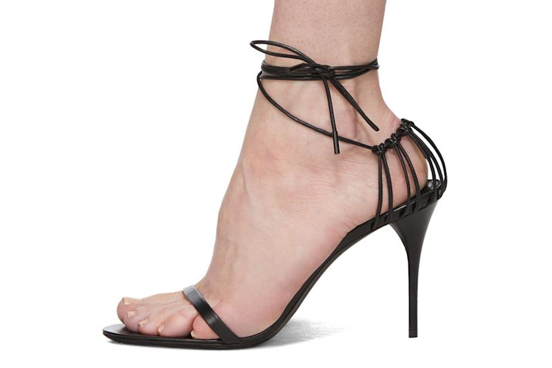 saint laurent strappy black sandals