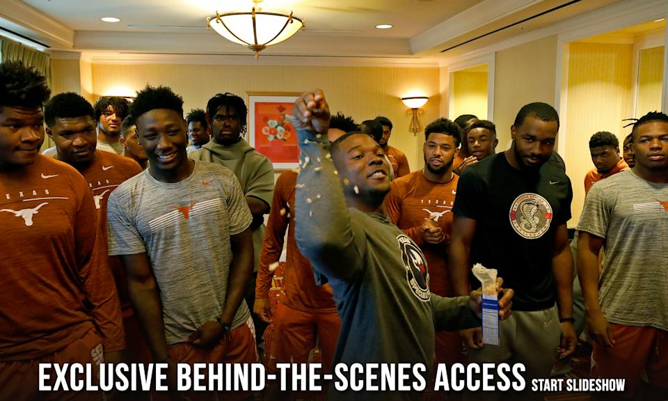 Members of the Texas Longhorns football team joke Saturday Sept. 7, 2019 at the team hotel in Austin, Tx. ( Photo by Edward A. Ornelas )