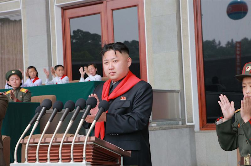 In this June 6, 2012 photo released by the Korean Central News Agency and distributed by the Korea News Service, North Korea's young leader Kim Jong Un delivers his speech during a celebration to mark the 66th anniversary of the founding of the Korean Children's Union in Pyongyang, North Korea. Kim made his second speech on Wednesday at a major public event since taking power in December, addressing a children's rally aimed at winning a new generation's support. (AP Photo/Korean Central News Agency via Korea News Service) JAPAN OUT UNTIL 14 DAYS AFTER THE DAY OF TRANSMISSION