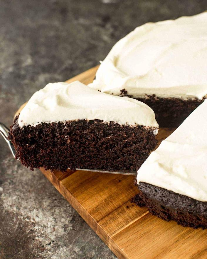 """<p>Enjoy a rich chocolatey cake that has a subtle malty flavor from the Guinness.</p><p><strong>Get the recipe at <a href=""""https://inquiringchef.com/chocolate-guinness-cake/"""" rel=""""nofollow noopener"""" target=""""_blank"""" data-ylk=""""slk:Inquiring Chef"""" class=""""link rapid-noclick-resp"""">Inquiring Chef</a>.</strong></p><p><strong><a class=""""link rapid-noclick-resp"""" href=""""https://go.redirectingat.com?id=74968X1596630&url=https%3A%2F%2Fwww.walmart.com%2Fsearch%2F%3Fquery%3Dcake%2Bpans&sref=https%3A%2F%2Fwww.thepioneerwoman.com%2Ffood-cooking%2Fmeals-menus%2Fg35269814%2Fst-patricks-day-desserts%2F"""" rel=""""nofollow noopener"""" target=""""_blank"""" data-ylk=""""slk:SHOP CAKE PANS"""">SHOP CAKE PANS</a><br></strong></p>"""
