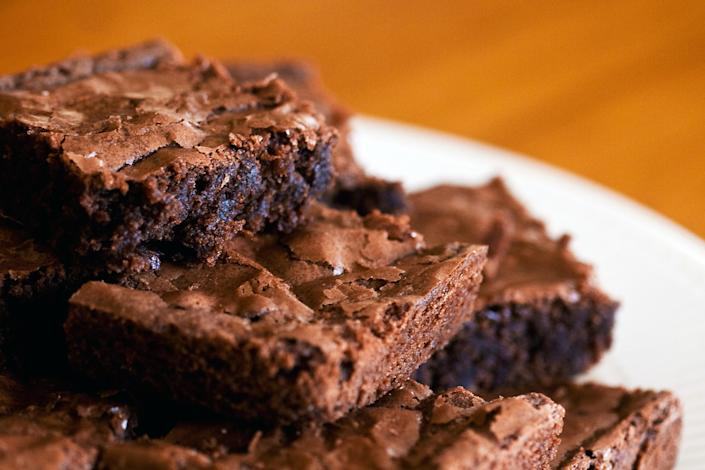 Close-up of a chocolate brownie stack on a plate